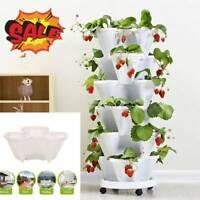 Vertical Stackable Strawberry Herb Garden Planter Flower Veg Pots DIY HOT
