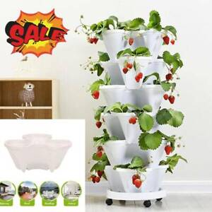 1/2/5 PCS Vertical Stackable Strawberry Herb Garden Planter Veg Flower Pots DIY