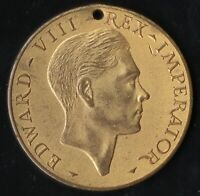 1937 CORONATION of KING EDWARD VIII LARGE 38mm GILT BRONZE FATTORINI MEDAL