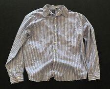 Mens Gap Long Sleeve Dress Shirt Size XL Blue Striped