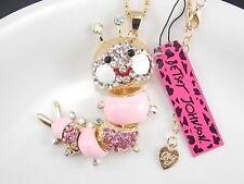 Betsey Johnson fashion jewelry Rhinestones pink caterpillar pendant necklace #A