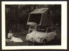 Abstract tent on roof on old car FIAT 750 old photo 7x10 cm  #33781