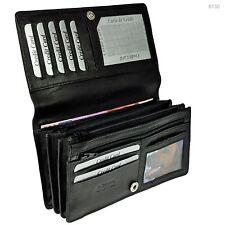 XXL Geldbörse RFID Blocker Rindleder Portemonnaie Geldbeutel Damen Geldtasche