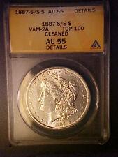 1887-S/S VAM-2A - ANACS AU55 DETAILS MORGAN DOLLAR -TOP 100 VARIETY! -AA68CCXX