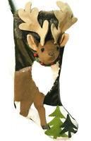 North Pole Trading Company Reindeer Deer Rustic Christmas Stocking New NWT Green