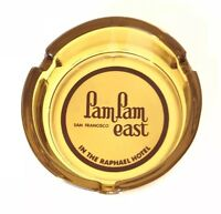 Vintage Amber Glass Ashtray Pam Pam East San Francisco Memorablia Raphael Hotel