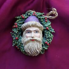 Dept. 56 Victorian Santa Christmas Ornament NIB Vintage Wreath Holly