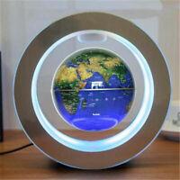 9'' Light Blue Round O Shape Magnetic Levitation Floating Globe World Map w/ LED