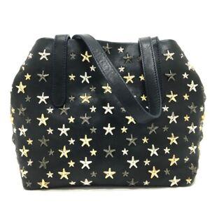 UNUSED JIMMY CHOO Star studs Metallic mix Sophia Small Tote Bag Leather Black