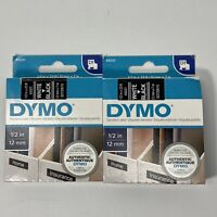 """Lot Of 2 Genuine Dymo 45021 Label Maker Tape White/Black 1/2"""" D1 Tape Refills"""
