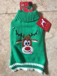 """Pet Control Green Christmas SWEATER """"REINDEER""""  Puppy/Dog SMALL"""