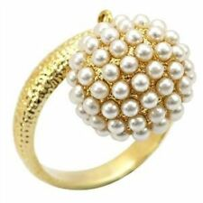Yellow Gold Plated Statement Oval Costume Rings