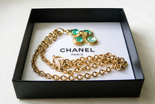 Authentic Chanel Clover Pendant Necklace, Green Griproix - Unused