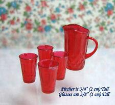 Dollhouse Miniature or Fairy Garden Red Chrysnbon Pitcher & Glasses