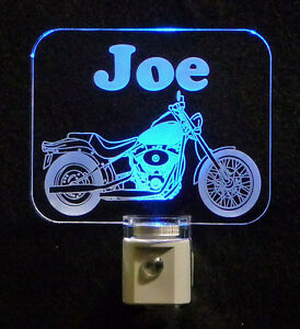 "Motorcycle Personalized  LED Night Light - Dad, Handmade, Man Cave 3/8"" Acrylic"