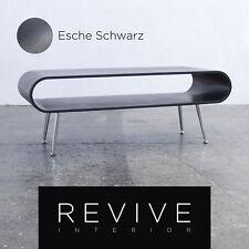 Designer Couchtisch Schwarz Eschenfurnier Retro Chic Ablage Holz Chrom Füße #...