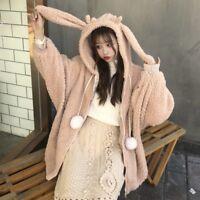 Lady Fleece Hoodie Jacket Coat Cardigan Warm Casual Loose Fluffy Rabbit Ear Cute