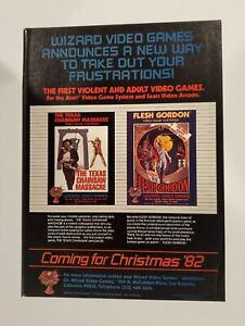 Rare 1982 Atari Texas Chainsaw Massacre Flesh Gordon Retro video game print ad