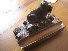 BEAUTIFULLY CARVED BLACK FOREST LION INKWELL / STAMP&PEN HOLDER 1850-1899 SUPERB