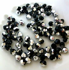 pack of 30 - Czech glass fire polished glass beads faceted black and silver 6x5