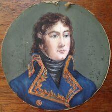 Portrait Général DESAIX (1768-1800) Miniature ronde XIXe Monogrammé