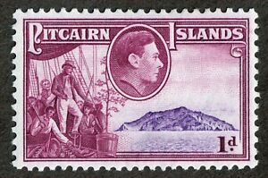 Pitcairn Islands  2  1d Red Lilac & Rose Violet 1940 Pictorial MH