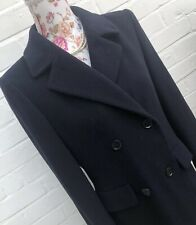 M&S St Michael Coat Size 8 Petite Navy Blue Pure New Wool Long Winter Riding