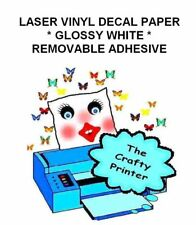 LASER PRINTER REMOVABLE ADHESIVE VINYL Decal Paper - 10 Sheets GLOSS WHITE