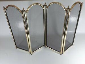 Antique Style Four Panel Brass Framed Folding Mesh Fireguard. 53cm high.