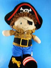 "Demdaco Nat & Jules PIRATE 14"" doll plush learning tool zip, velcro, tie, buckle"