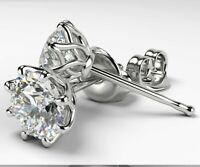 4.00 Ct Round Cut D/VVS1 Diamond Women's Stud Earrings 14k White Gold Over