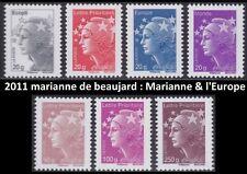 2011 FRANCE N°4565/4571** Marianne de Beaujard Série COMPLETE TTB MNH