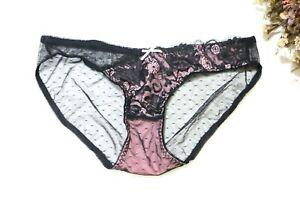 Women Sexy Brief Lace&Dot Mesh underwear Hispter Bikini Petites Panty Black XS-S