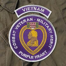 Combat Veteran - Purple Heart Patch with Vietnam Tab - Rolling Thunder - MACV