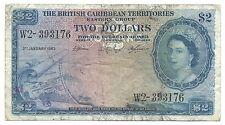 British Caribbean Territories Banknote 2 Dollars 1963 P8c VF Queen Elizabeth NR