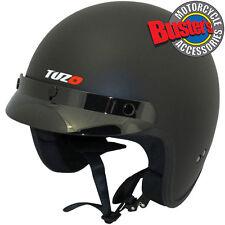 Tuzo Jet Open Face Motorcycle Scooter Motorbike Crash Helmet Matt Black XL
