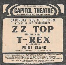 ZZ TOP T REX CAPITAL THEATER ORIGINAL NEWSPAPER AD 1974