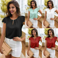 Women Casual Tops Round Neck Summer Short Sleeve Lace T-Shirt Blouse Fashion