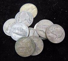 Lot of 10 Jefferson Silver War Nickels Good-Fine No Culls  1942-1945 Random Date