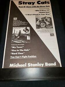 Stray Cats/Michael Stanley Band Rare Original Radio Promo Poster Ad Framed!