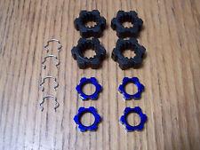 Traxxas 8S X-Maxx 24mm Wheel Hubs 17mm Blue Aluminum Splined Nuts & Hex Clips 6s