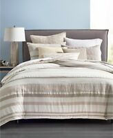 Hotel Collection FULL/QUEEN Duvet Cover Honeycomb Stripe Linen OATMEAL L97137