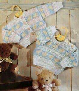 """Baby Sweater & Cardigan 14""""-22"""" DK  Vintage Knitting Pattern C35"""