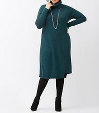 New Lane Bryant $90 Marled Cowl Neck Sweater Dress Teal Plus 22/24 3X