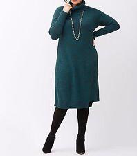 New Lane Bryant $90 Marled Cowl Neck Sweater Dress Teal Plus 22/24 3X