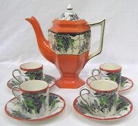 Vintage Bursley Ware BACCHUS Deco Coffee Set Pot Cups Saucers Orange Black Green