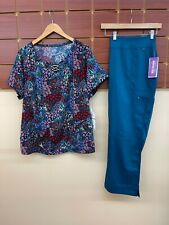 New Caribbean Blue Print Scrub Set With 2Xl Top & Healing Hands 2Xl Petite Pants