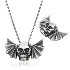 Skull With Bat Wings Pendant, 925 Sterling Silver Halloween Men's Necklaces