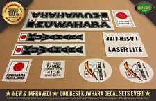 Kuwahara LASERLITE BMX Decal Stickers - 1982 Black - Factory Correct!