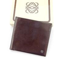 Loewe Wallet Purse Monogram Mini Agenda Brown Black Mens Authentic Used T4528